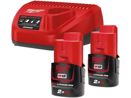 Milwaukee M12 NRG-202 Batteripakke 2x2,0Ah +lader